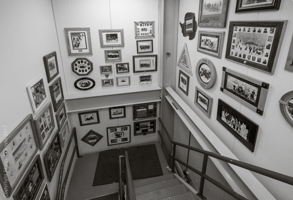 GWR stairway with photos of winter over crews