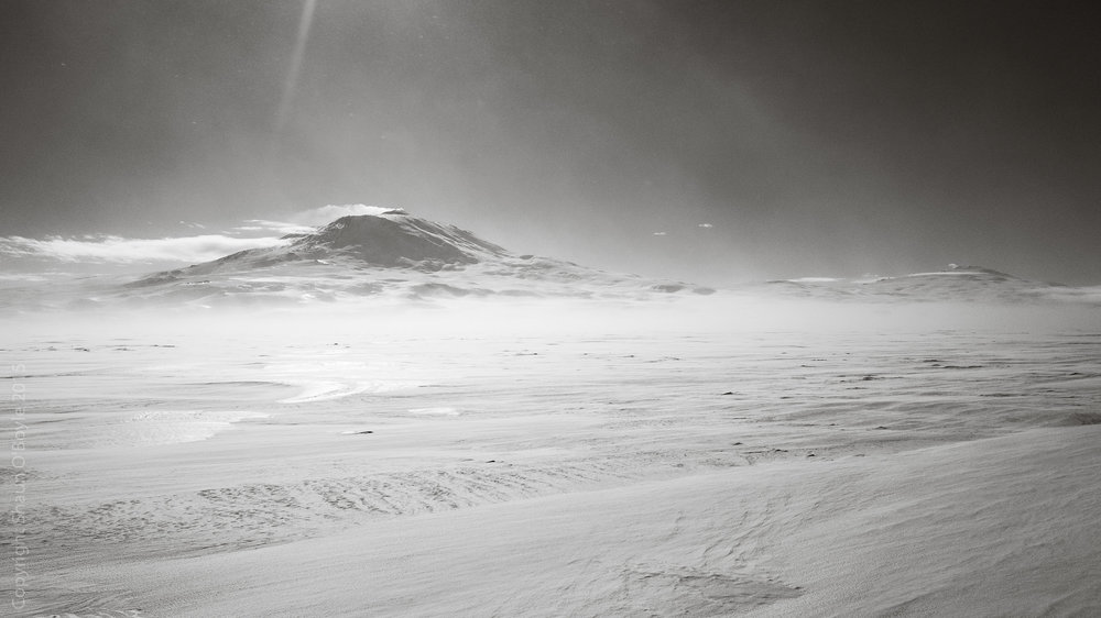 Mount Erebus on an extremely cold and windy day (-30's wind chill) on way to Cape Evans