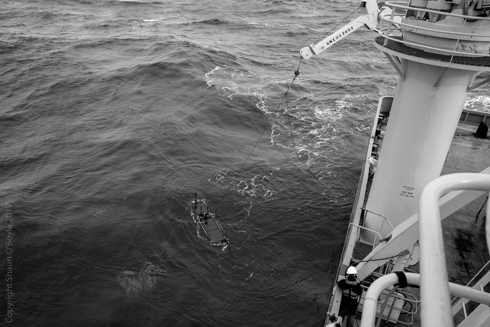 Retrieving a Scripps Oceanic instrument from the middle of the Drake Passage. The instrument had become damaged and was doing circles rather than following its intended course.