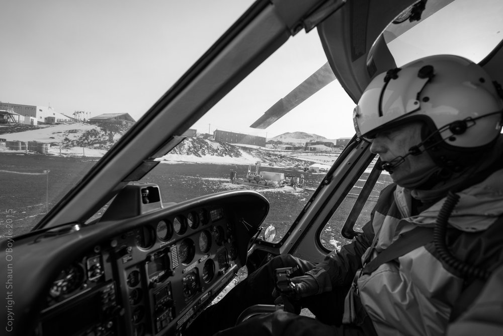 Flight prep and near takeoff from McMurdo Station.
