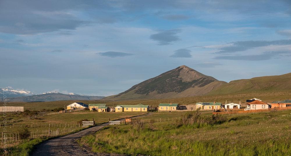 Farm settlement along road