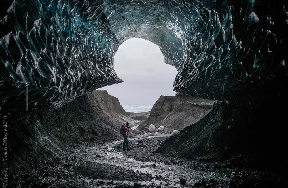 Óskar Arason at the entrance of one of the ice caves we visited.