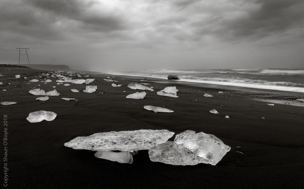 Glacial ice washed up on Diamond Beach