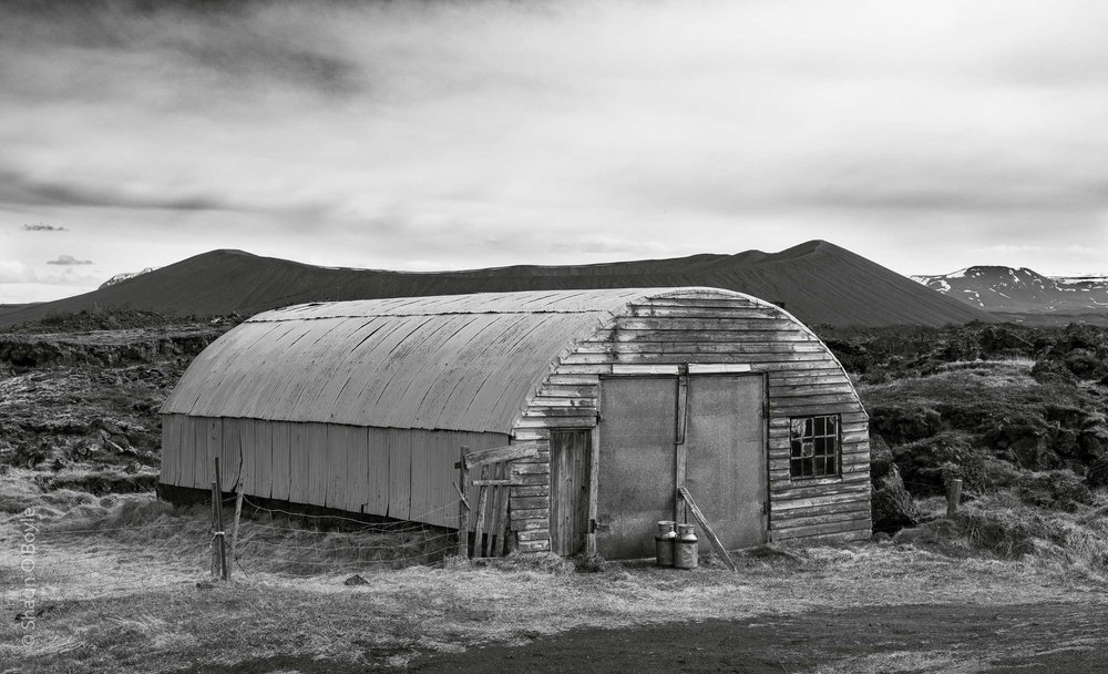 Barn, with Hverfjall Tephra RIng in background