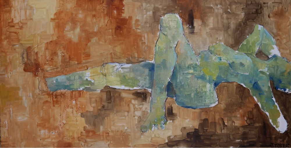 """Stumps :: 21""""x41"""" :: oil and charcoal"""