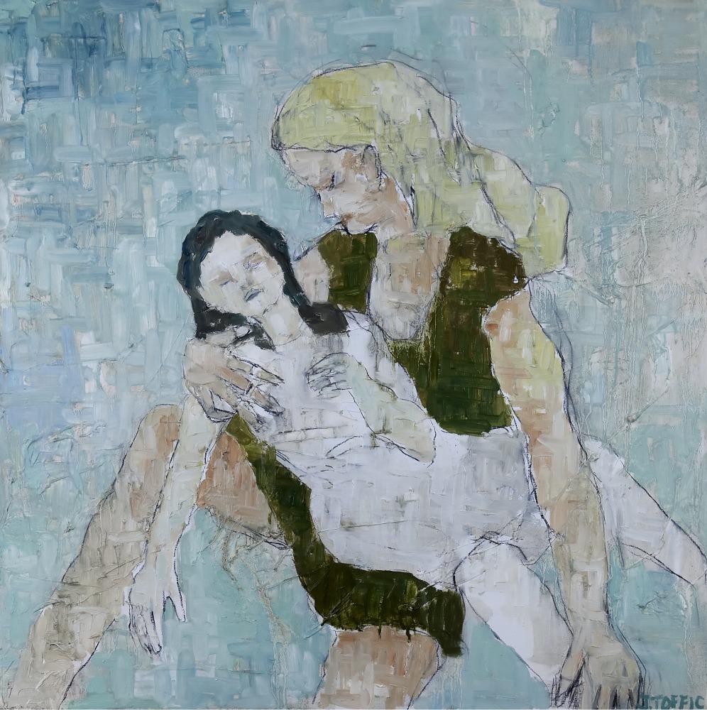 "Pieta :: 30""x30"" :: oil and charcoal"