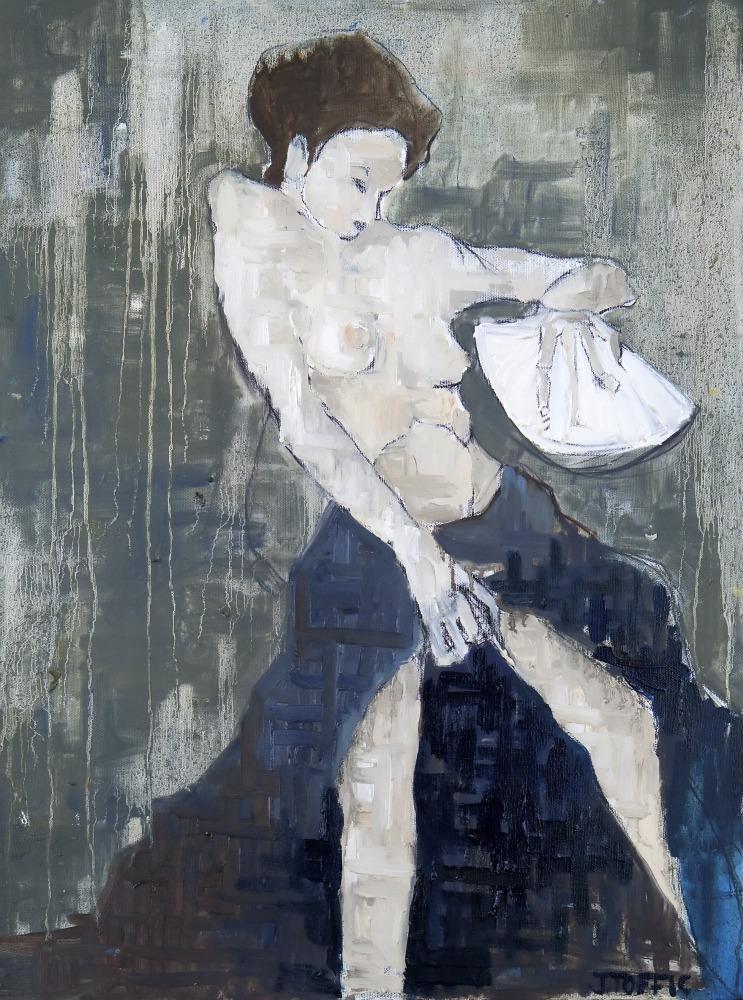 "The White Geisha :: 24""x18"" :: oil and charcoal"