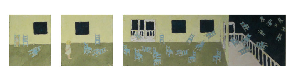 "Dachau Triptych :: 10""x50"" :: oil on canvas :: private collection"