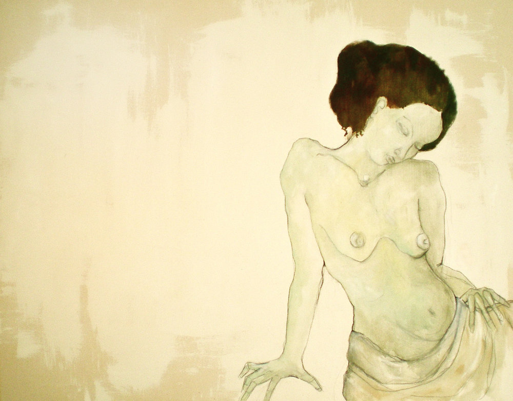 "Seraphina :: 38""x48"" :: oil and charcoal on canvas"