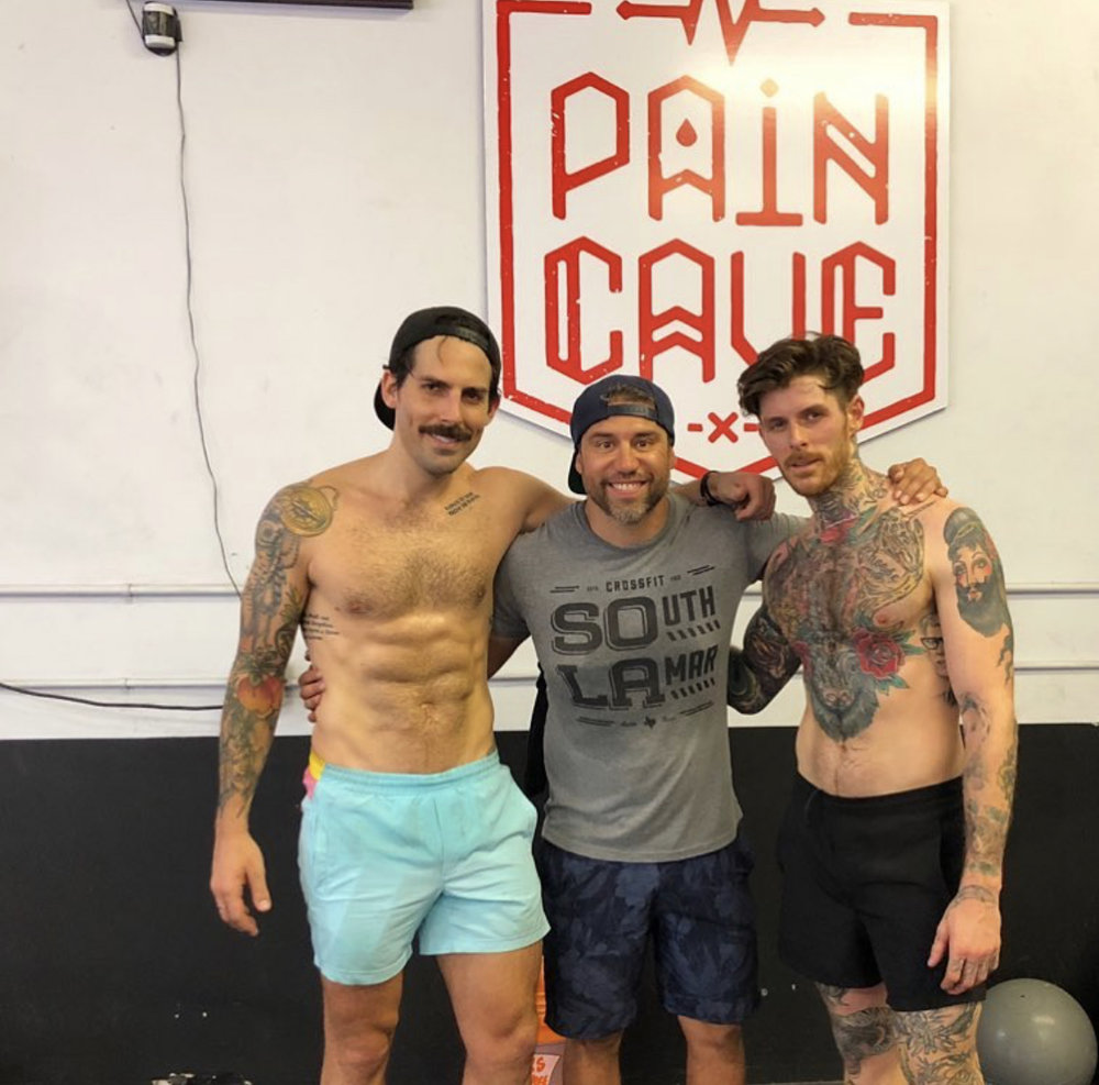 James (center) with The OUT Foundation Founder Will (left) at CrossFit South Lamar in Austin, Texas.