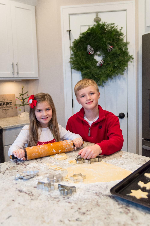Sibling Children kitchen baking holiday photo portrait | Photo by BillyBengtson.com