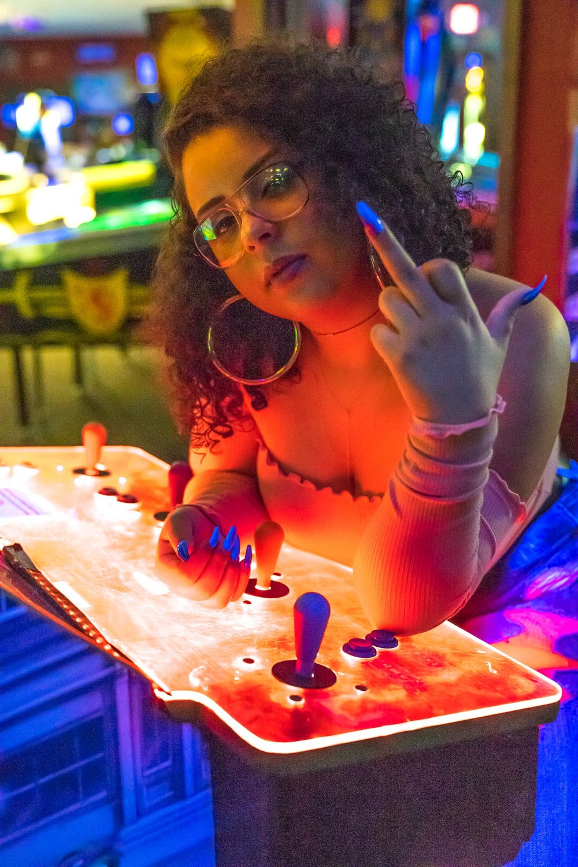 Arcade photo shoot with girl attitude | Photo by BillyBengtson.com