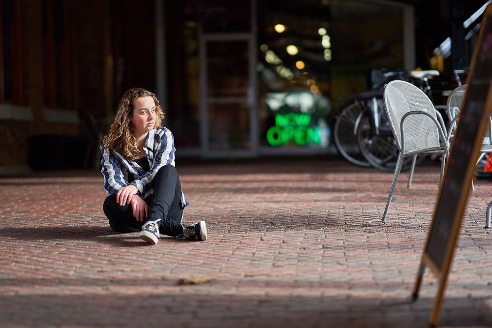 Urban Portrait Sitting Teenage Girl | Photo by BillyBengtson.com