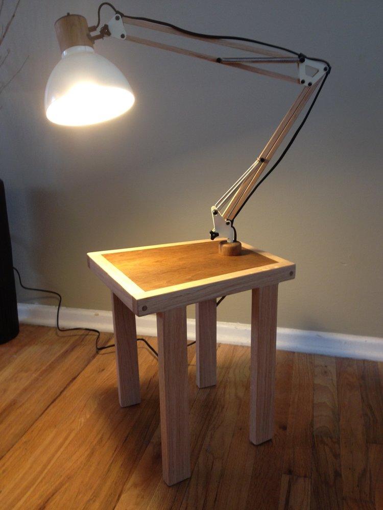 Teak and oak lamp table cream modern 16g aloadofball Image collections