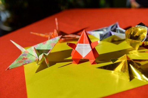 Origami-making station for the guests to make.