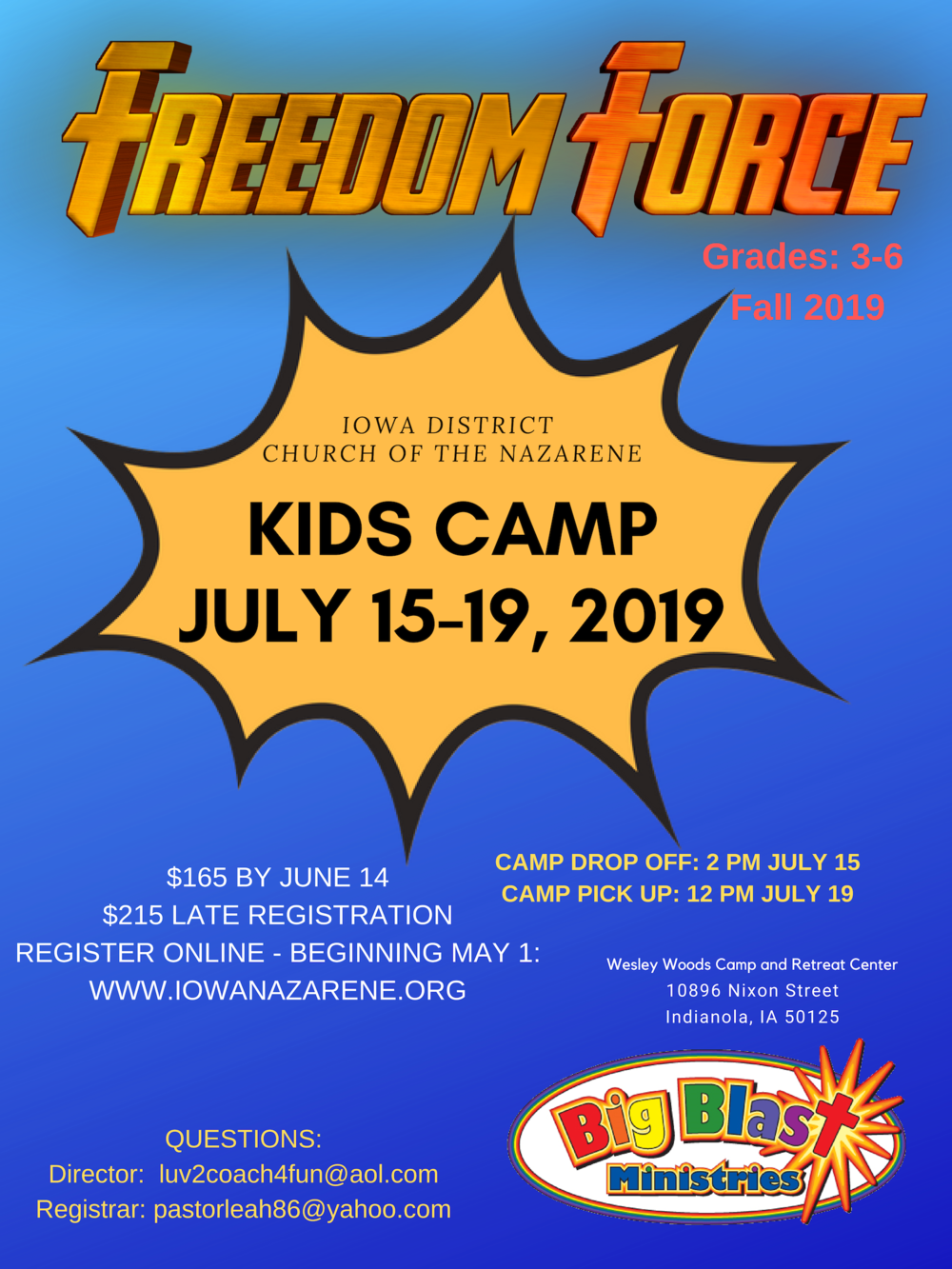 - Kids Camp Registration Opens: May 1, 2019Click HERE to download printable flier