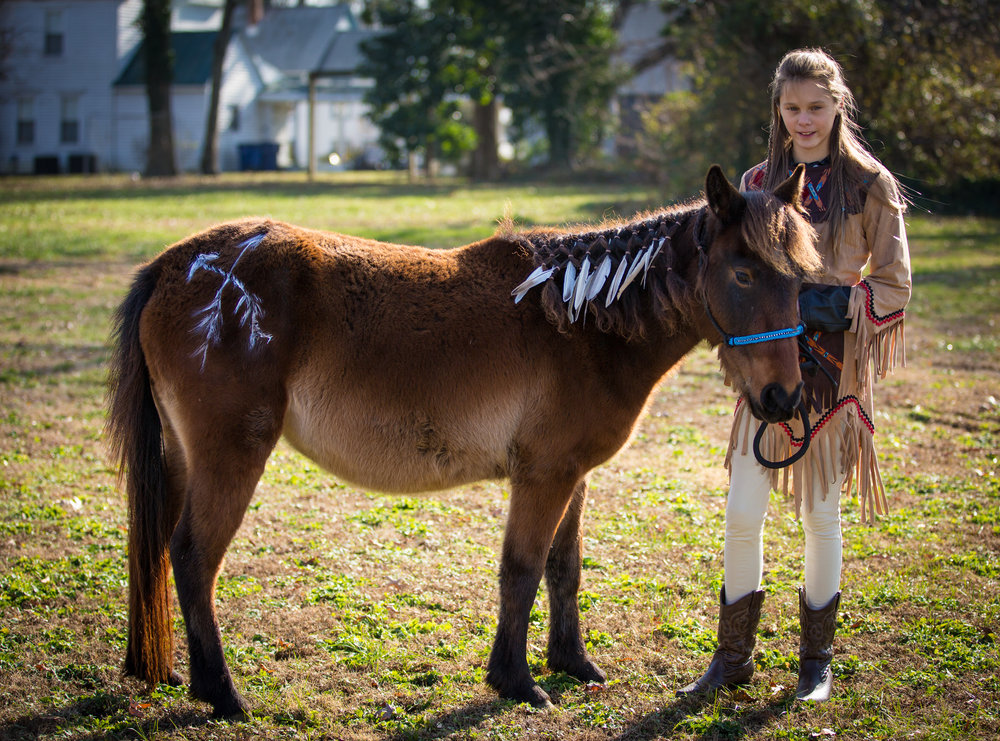 Krysta with her adopted wild mustang, Katalina, Colonial Spanish Mustang from Corolla, North Carolina, 2014