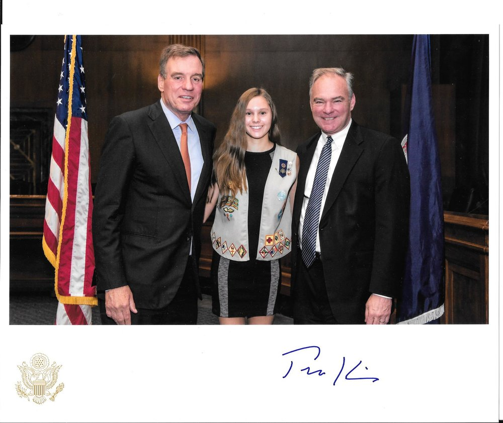 Krysta with Senator Kaine and Senator Warner
