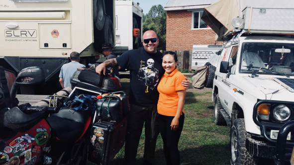 Paddy, cool biker from North Carolina, who travels endless with his big smile and Nara, our Restaurant Manager.