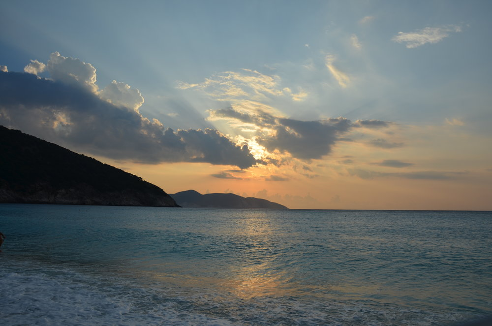Bathing in sunset - Myrtos Beach, Kefalonia