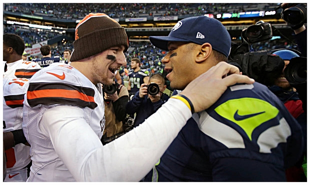 Former Browns quarterback Johnny Manziel and Seattle Seahawks quarterback Russell Wilson