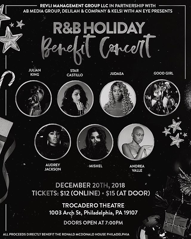 There's only one way to do the holiday season and that's through the spirit of giving. We're super thrilled to collaborate with some of Philly's dopest companies to bring you a benefit concert benefiting The Ronald McDonald House Philadelphia 🙏🏽 — We are excited to invite you all to the inaugural R&B Holiday Benefit Concert. This will be the first of many concert series where we'll choose a different charity to donate to. — Come show love to @itsjulianking @andreavalle @wearegoodgirl @mishelsworld @starcastillo_ @judaeav @iamaudreyjackson while supporting a good cause! ___ Purchase your ticket today (link in bio). Your presence will play a part in giving back to the families supported by the Ronald McDonald House foundation +  you'll be supporting Philly's local talent! #holidayszn