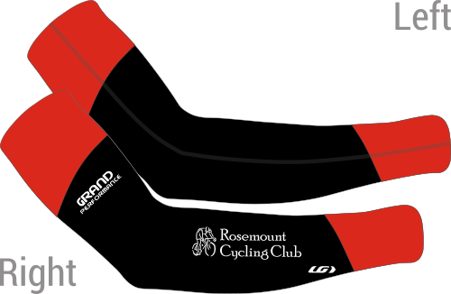 Black arm warmers with red accents on each end.