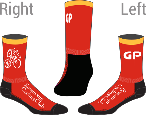 Red socks with a yellow cuff.