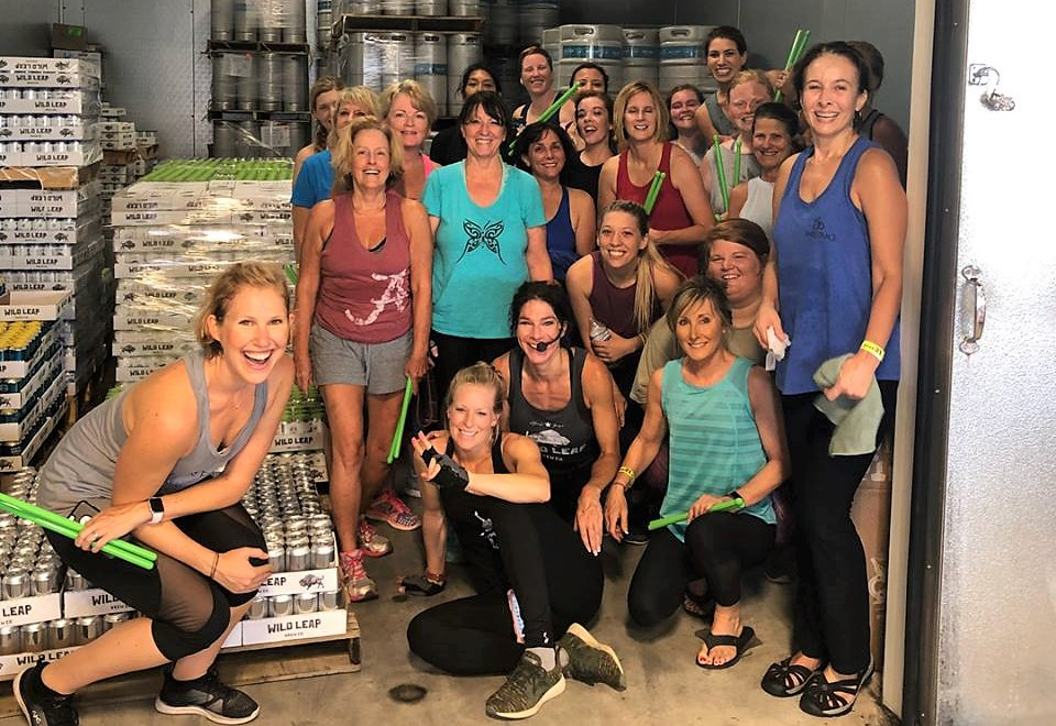 Finding the best place to cool down after an amazing Pound workout! Join us back in the Tap Room August 18th for PiYo!