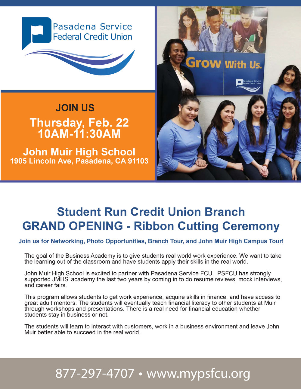 Pasadena Service Federal Credit Union Grand Opening- John Muir High School - February 22nd, 2018