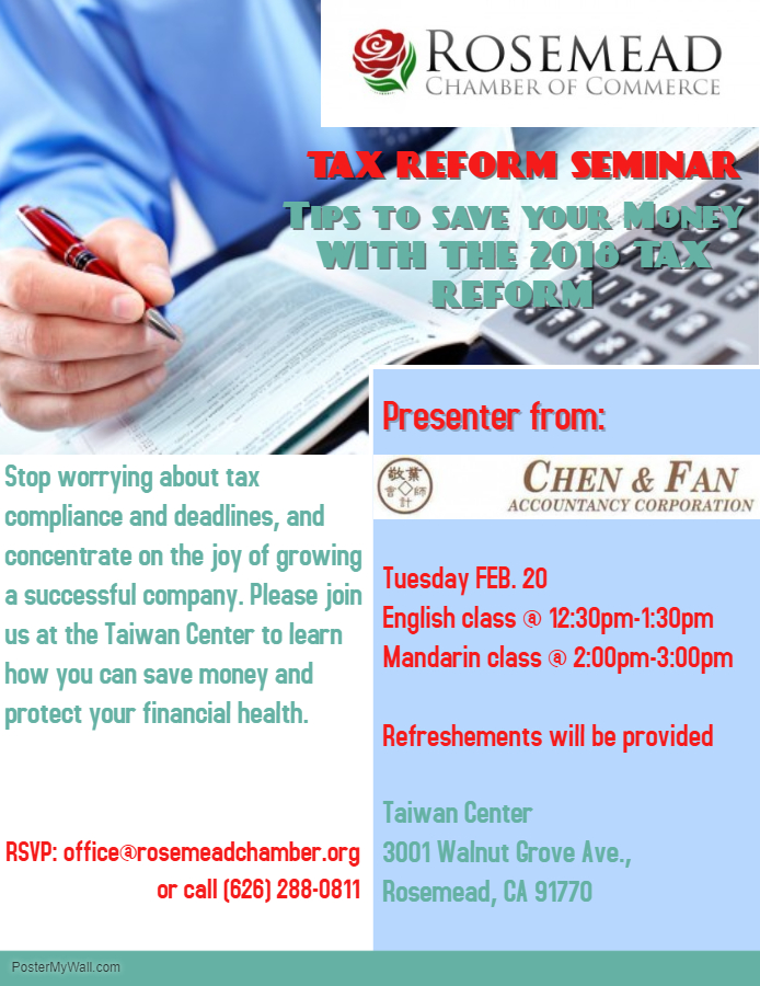 Tax Reform Seminar- English & Mandarin - February 20th, 2018