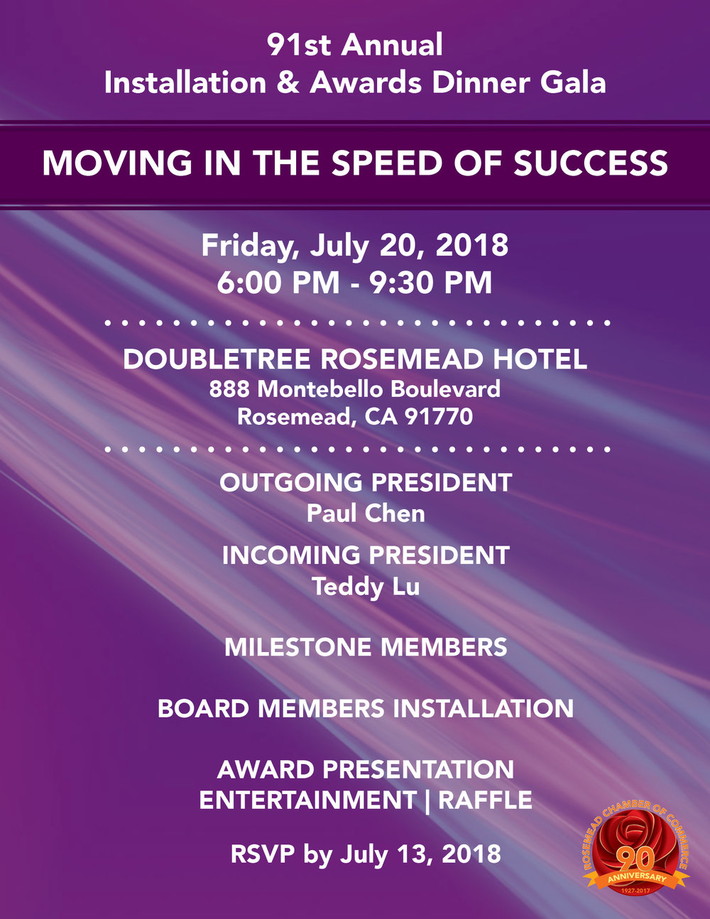 91st Annual installation &awards dinner gala - Friday, July 20th, 2018Click for More Information and for Sponsorship Opportunities
