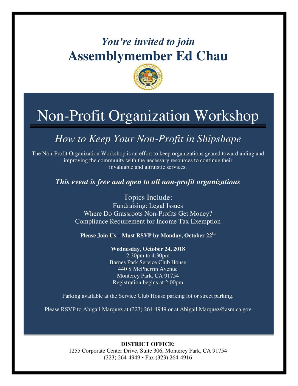 Assemblymember ed chau: non-profit organization workshop - October 24th, 2018
