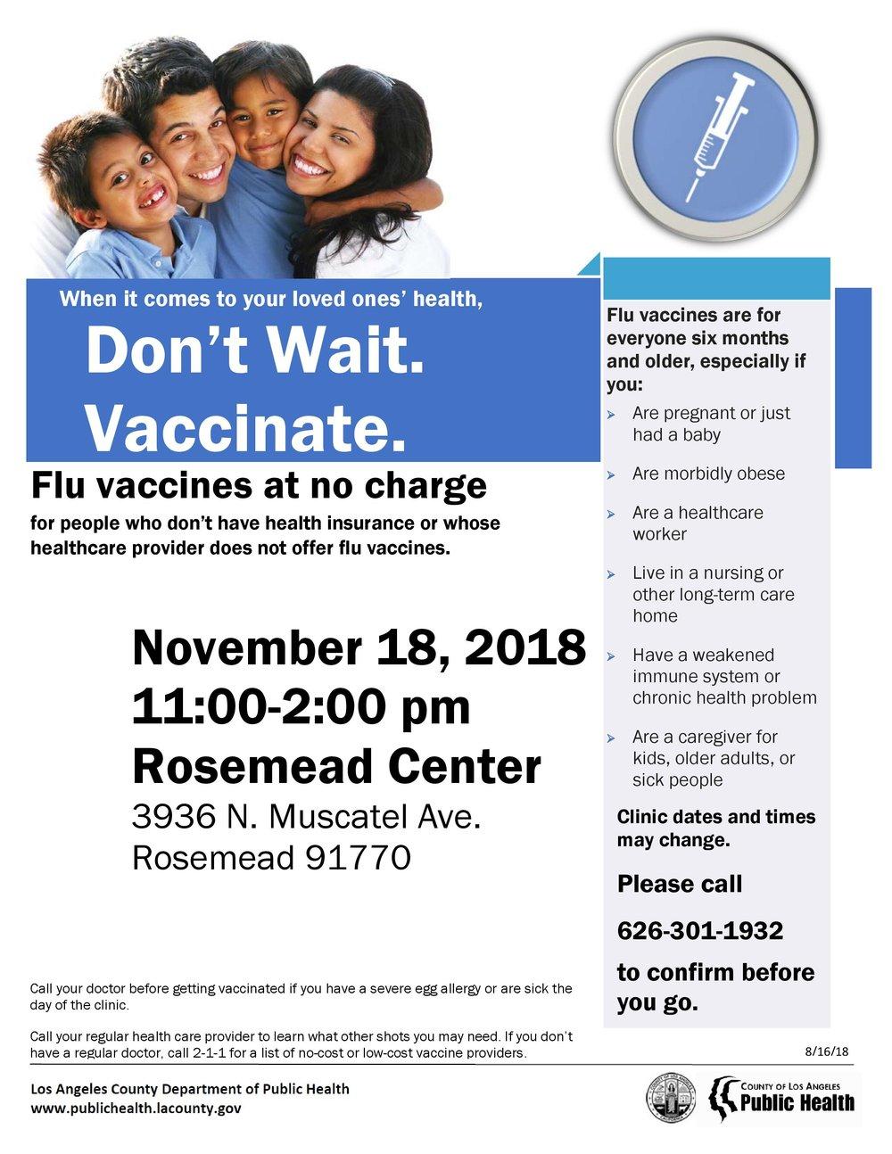 Flu vaccines - November 18th, 2018
