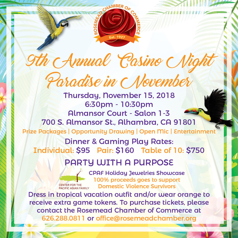 9th annual casino night - paradise in november - November 15th, 2018