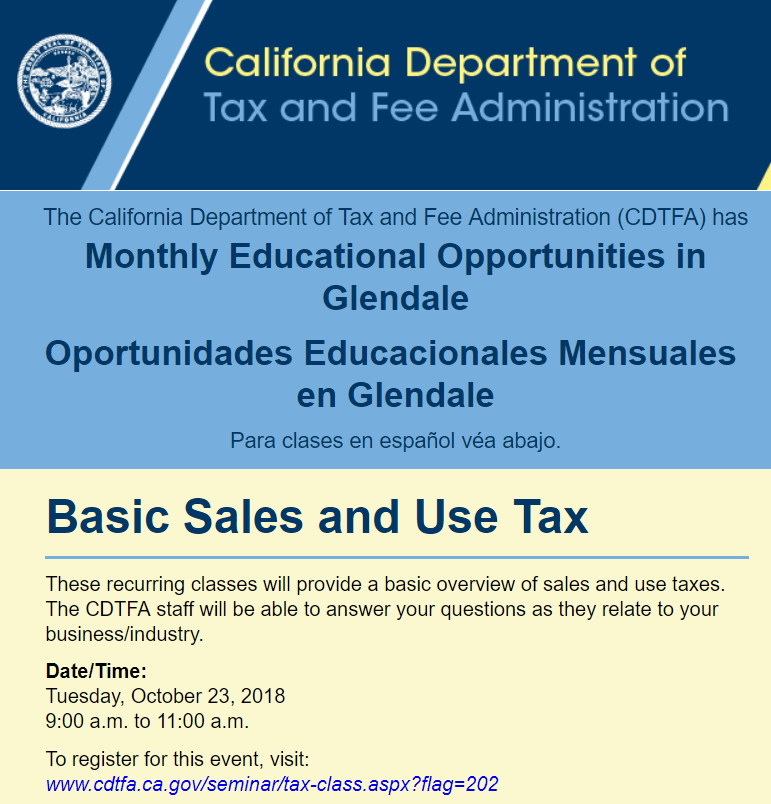 Basic sales and use tax - October 23rd, 2018