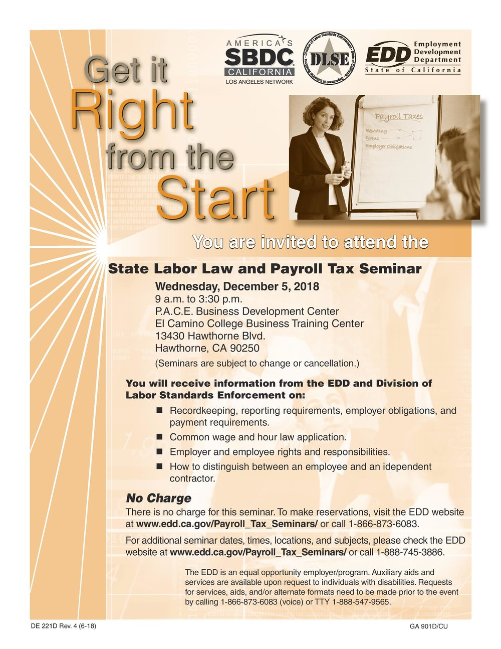 state labor law and payroll tax seminar - December 5th, 2018