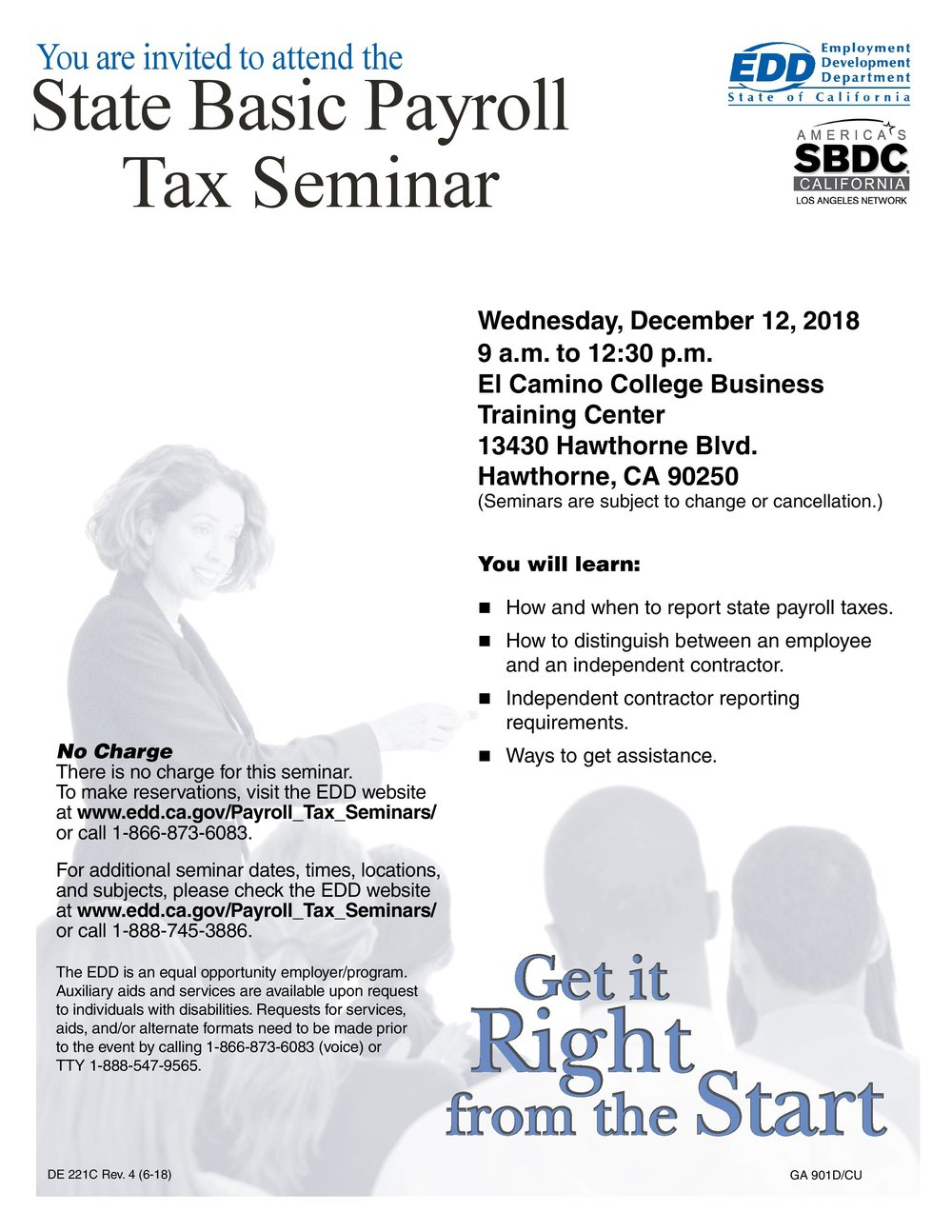 State basic payroll tax seminar - December 12th, 2018