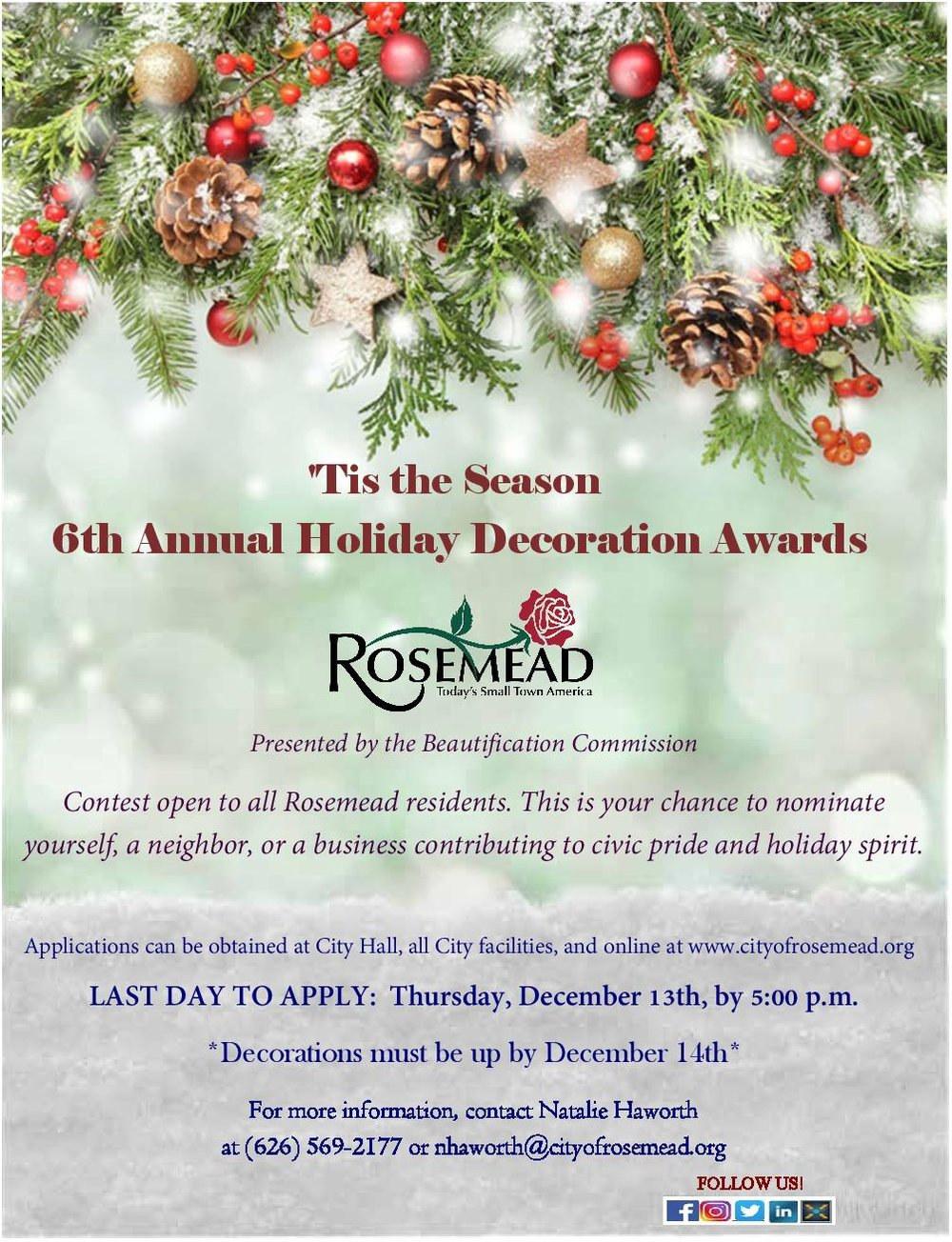 6th annual holiday decoration awards - Submit applications by December 13th, 2018