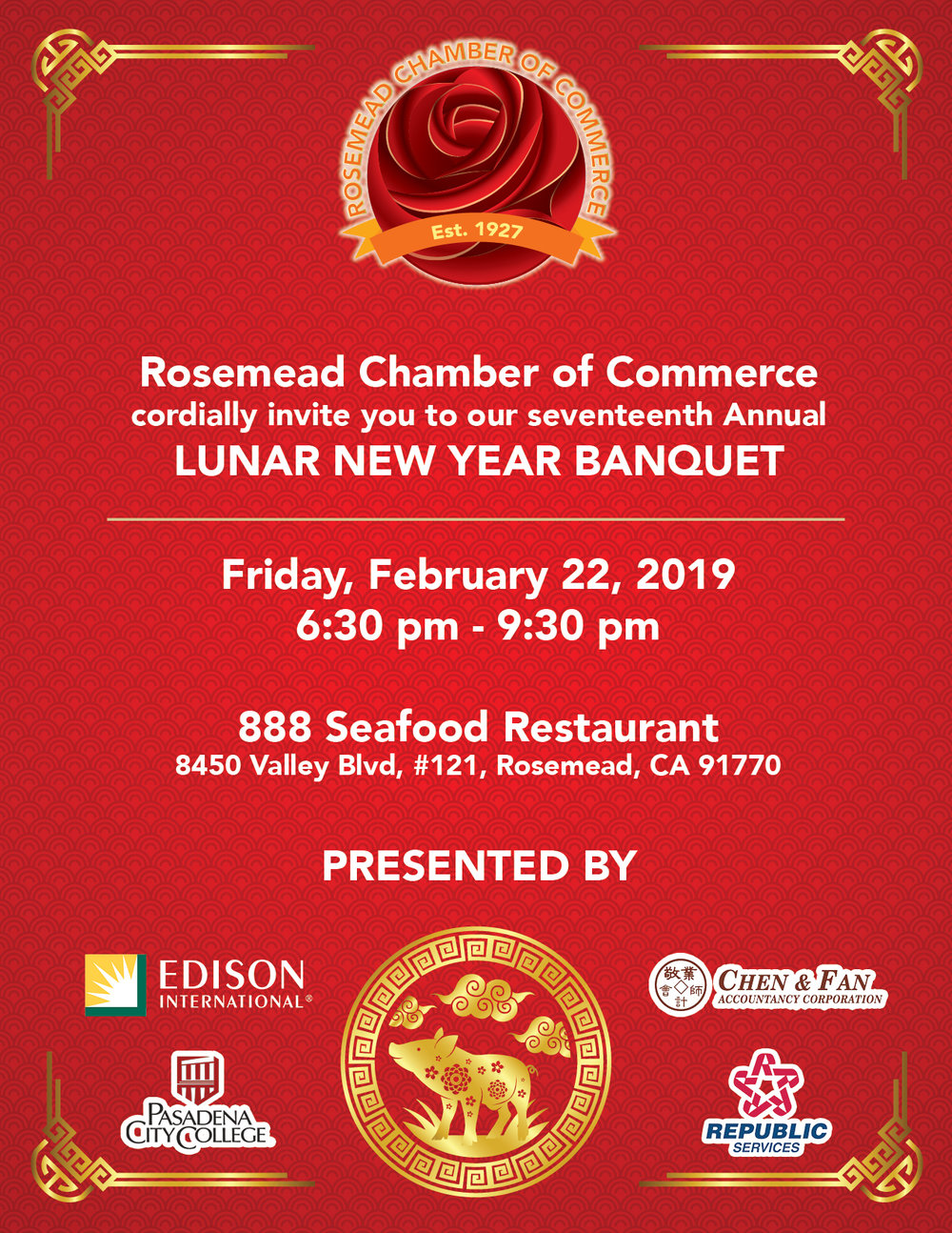 17th annual lunar new year banquet - February 22nd, 2019