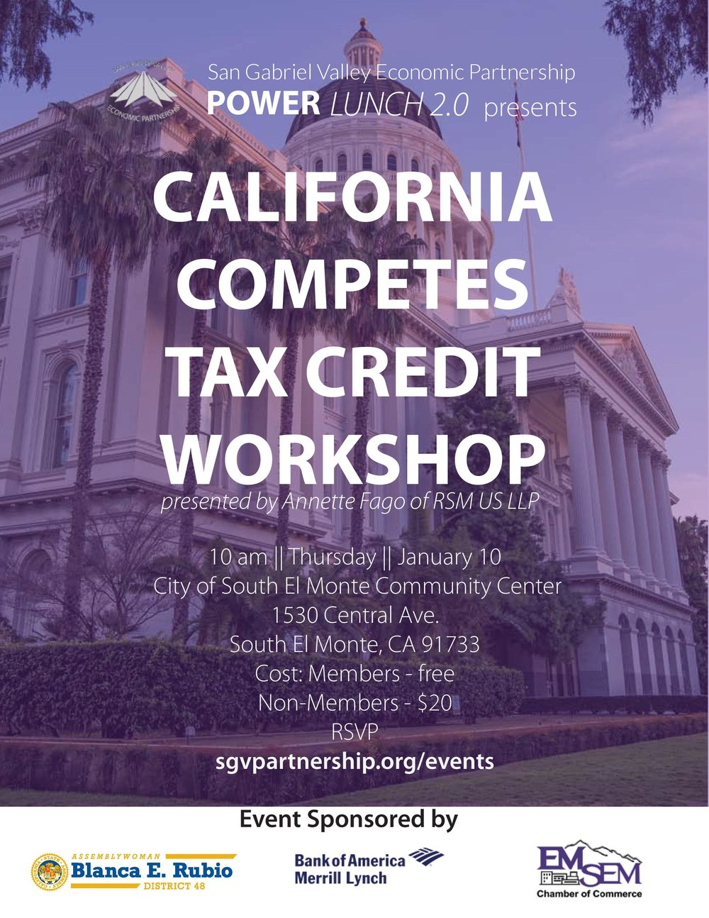 california competes tax credit workshop - January 10th, 2019