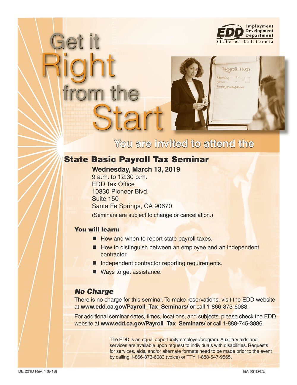 State basic payroll tax seminar  - March 13th, 2019