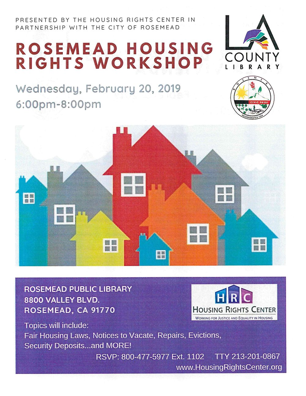 rosemead housing rights workshop - February 20th, 2019