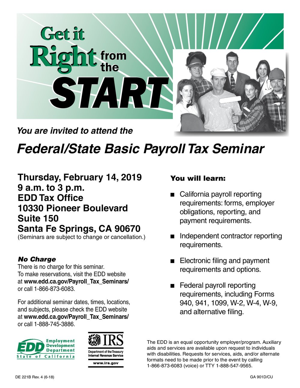 Federal/state basic payroll tax seminar  - February 14th, 2019