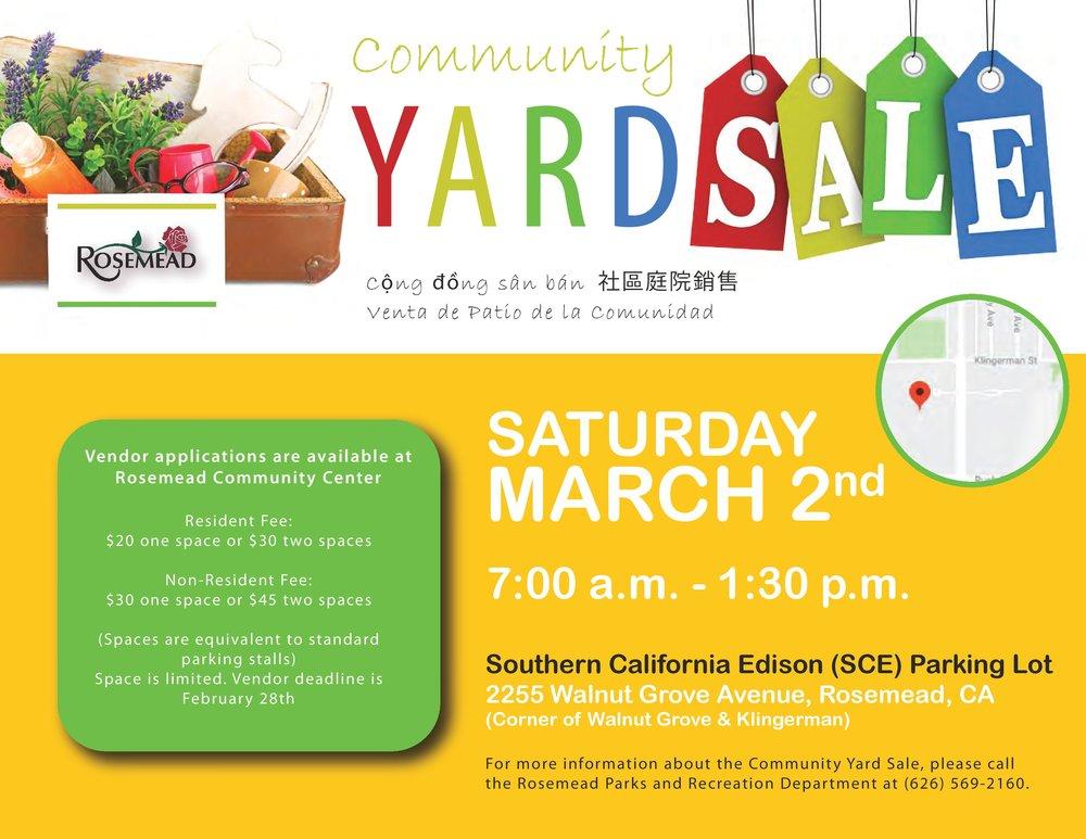 community yard sale - March 2nd, 2019