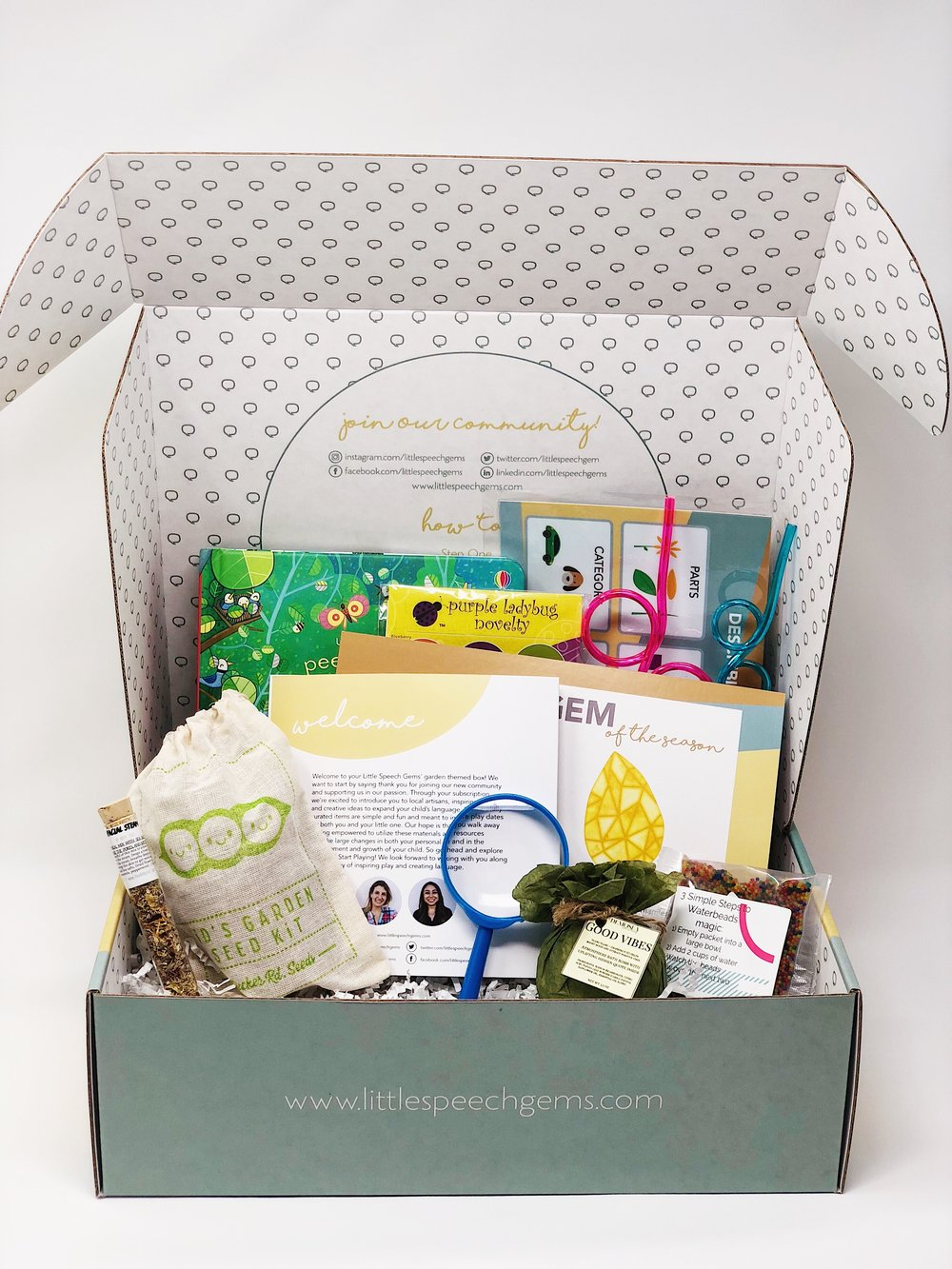 LITTLE SPEECH GEMS BOX - Do you feel like you are always living in survival mode? Let us help you grow and  thrive with these predetermined play date materials. This box is appropriate for kids with all language profiles who are in pre-kindergarten and kindergarten years. For just a small investment you can save yourself the hundreds of dollars it cost for speech language pathologists and tutors which can average from $100 to $200 an hour. With the expertise of certified speech-language pathologists, in each box you will always receive a:·      Personal care item·      Several themed-based activities/materials·      Book·      Calendar with simple daily language enriching activities·      Postcard with the