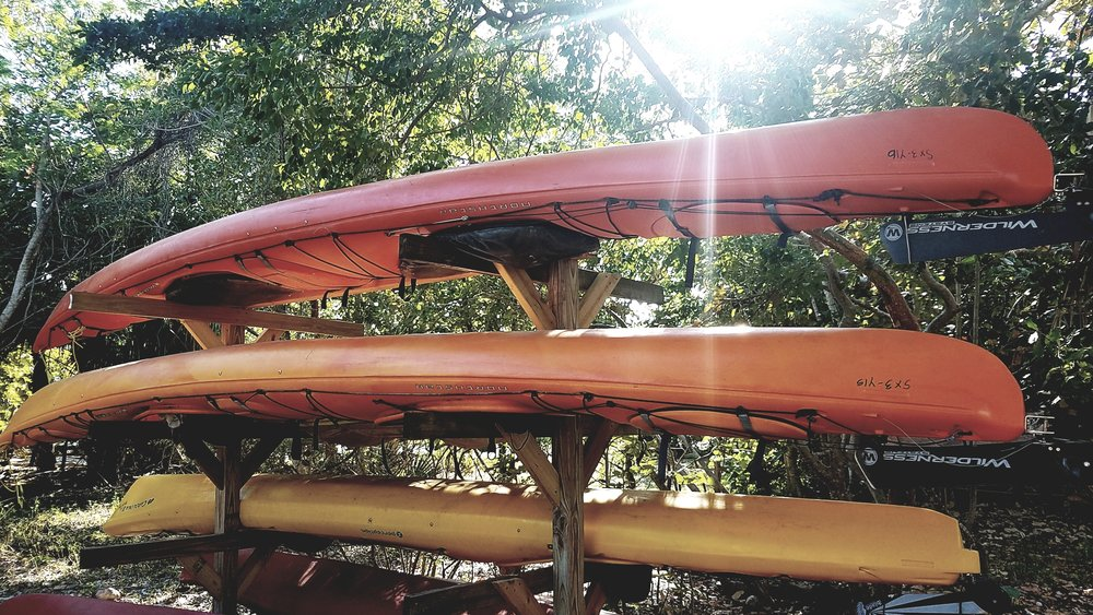 Storing your kayak on an elevated rack will protect it from elements on the ground like dirt and moisture.
