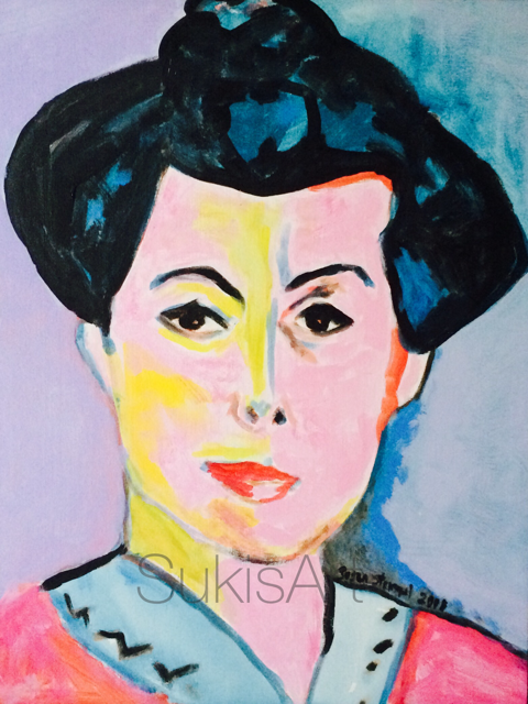 """Green Stripe"" (1905) AKA Portrait of Madame Matisse was painted in oil .  My study is acyrlic on canvas."