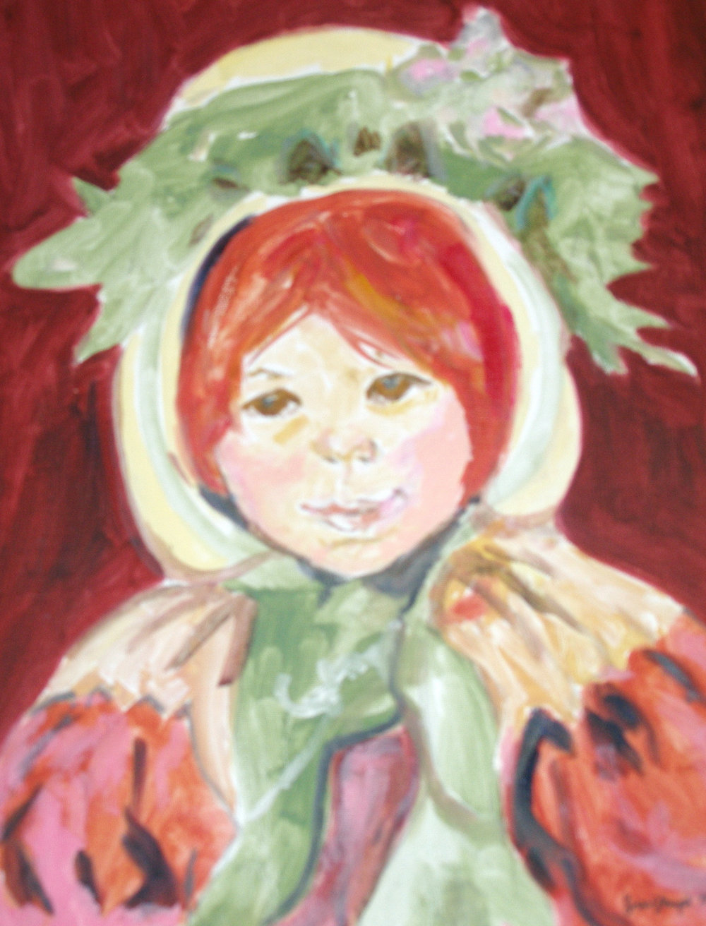 "The original by Mary Cassatte is titled ""A Study of Sarah in a Green Hat"" and is in oil.  My version is  acrylic on canvas."