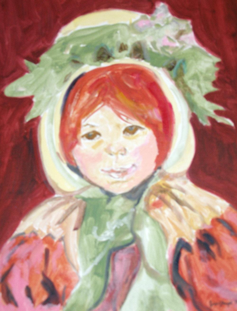 "$2,000. 16"" x 20"" acrylic on canvas.  ""Study of Marie Cassatt's 'Sarah in a Green Bonnet'"""